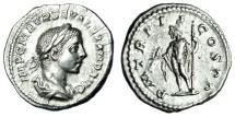 """Ancient Coins - Severus Alexander AR Denarius """"Jupiter With Thunderbolt"""" RIC 19 223 AD VF"""