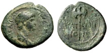 """Ancient Coins - Nero AE19 """"Double-Bladed Axe, Labrys"""" Lydia, Thyateira 50-54 AD"""