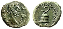 "Ancient Coins - Commodus AE18 ""Serpent Arising From Cippus"" Thrace, Pautalia aEF Rare Green"