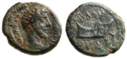 """Ancient Coins - Commodus AE18 """"Rudder With Bust of Tyche"""" Phoenicia, Byblos Rare aVF"""