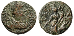 "Ancient Coins - Salonina AE Diassarion of Caria, Tabae ""Mark of Denomination, Tyche With Rudder"""