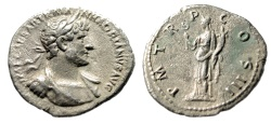 "Ancient Coins - Hadrian AR Denarius ""Draped & Cuirassed, Felicitas"" Unrecorded Bust Type Rare VF"
