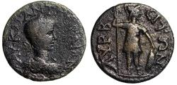 """Ancient Coins - Gordian III AE25 of Cilicia, Lyrbe """"Soldiers Standing, Spear & Shield"""" Fine"""