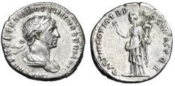 """Ancient Coins - Trajan AR Denarius """"PARTHICO PM TR P COS VI PP SPQR Felicitas"""" RIC 332 Good VF"""