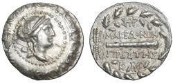 "Ancient Coins - Macedonia Roman Protectorate AR Tetradrachm ""Artemis & Club Oak Wreath"" Good VF"