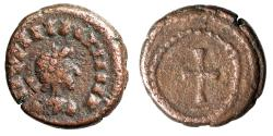"""Ancient Coins - Vandals in Africa AE11 """"Roman Style Portrait & Cross in Border of Dots"""""""