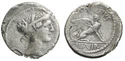"""Ancient Coins - Roman Imperatorial: L Carisius AR Denarius 46 BC """"Sibyl & Sphinx"""" Good Fine"""