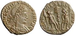Ancient Coins - Constantius II Caesar GLORIA EXERCITVS Soldiers Rome RIC 383 Very Rare Near FDC