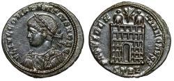 """Ancient Coins - Constantius II Caesar """"PROVIDENTIAE CAESS Campgate"""" Trier 327-328 AD RIC 507 EF"""