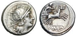 "Ancient Coins - Roman Republic Anonymous AR Denarius ""Roma, X / Victory, Biga, Goad"" gVF"