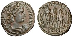"Ancient Coins - Constantine I The Great AE17 ""GLORIA EXERCITVS Soldiers"" Constantinople EF"