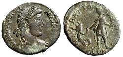 "Ancient Coins - Magnus Maximus AE2 ""REPARATIO REIPVB Kneeling Republic"" Arles RIC 26a VF"
