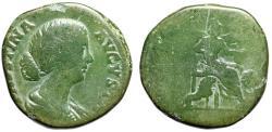 "Ancient Coins - Faustina II Junior AE Sestertius ""MATRI MAGNAE Cybele, Lions"" Green Patina"