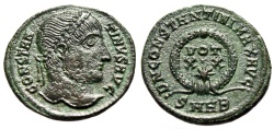 "Ancient Coins - Constantine I The Great AE19 ""VOT XX and Star in Wreath"" Heraclea RIC 60 gVF"