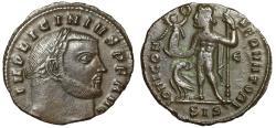"Ancient Coins - Licinius I AE Follis ""IOVI CONSERVATORI Jupiter, Eagle"" Siscia RIC 8 gVF"