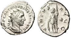 "Ancient Coins - Volusian Silver Ant. ""VIRTVS AVG Virtus Star"" Rome RIC 187 Scarce EF"
