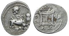 "Ancient Coins - Illyria, Dyrrhachium AR Drachm ""Cow Suckling Calf; Helios & Owl"" Lysen Scarce"