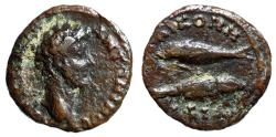 """Ancient Coins - Marcus Aurelius AE17 """"Two Fish, Opposite Directions"""" Bithynia, Nicomedia Rare VF"""