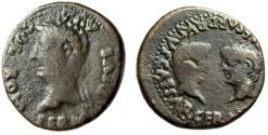 """Ancient Coins - Tiberius AE28 """"Germanicus & Drusus Confronted"""" Spain, Colonia Romula 14-37 AD"""