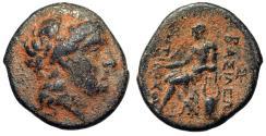 "Ancient Coins - Antiochos II Theos AE18 ""Apollo Bust & Seated, Omphalos & Kithara"" VF"