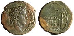 "Ancient Coins - Augustus AE As ""ROM ET AVG Altar, Corona Civica"" Lugdunum RIC 230 About EF"