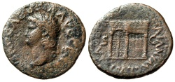"Ancient Coins - Nero AE As ""Bust Left & Temple of Janus Left"" Rome 64-68 AD RIC 310 Scarce gF"