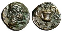 """Ancient Coins - Cyclades, Naxos AE10 """"Dionysos Left & Kantharos, Grapes & Leaves"""" Rare EF"""