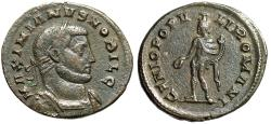 """Ancient Coins - Galerius AE Follis """"GENIO POPVLI ROMANI Genius"""" London Mint RIC 34 VF"""