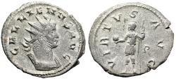"Ancient Coins - Gallienus AR Antoninianus ""VIRTVS AVGG Mars, P"" Rome RIC 321 Scarce gVF"