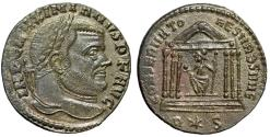 "Ancient Coins - Maximian AE Follis ""CONSERVATO RES VRB SVAE Roma in Temple"" Rome RIC 194b EF"
