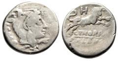 """Ancient Coins - L Thorius Balbus AR Denarius """"Juno Sospita in Goat Headdress & Bull"""" Rome 105 BC"""