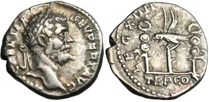 """Ancient Coins - Septimius Severus, AR Denarius """"Legionary Eagle"""" Legion XIIII RIC 14"""