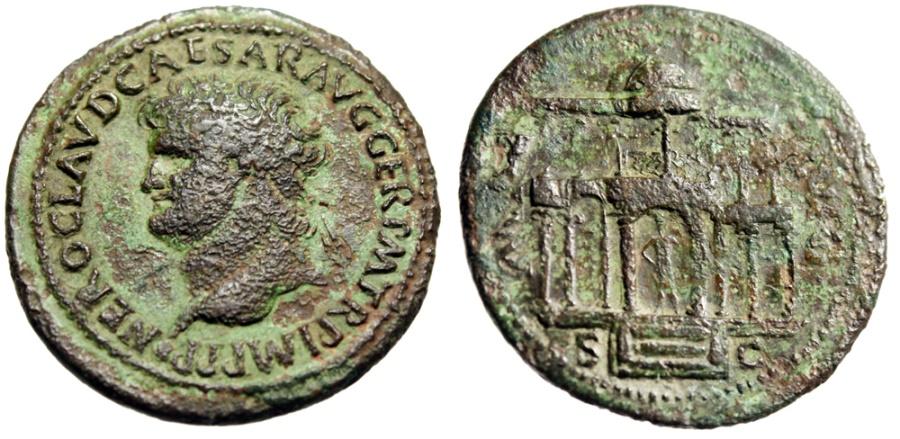 """Ancient Coins - Nero Dupondius """"MAC AVG SC Macellum Magnum, Market"""" Rome 64-68 AD RIC 402 Rare"""