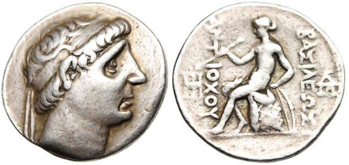 "Ancient Coins - Antiochus I Soter Silver AR Tetradrachm ""Apollo Seated, Examining Arrow"" Scarce"