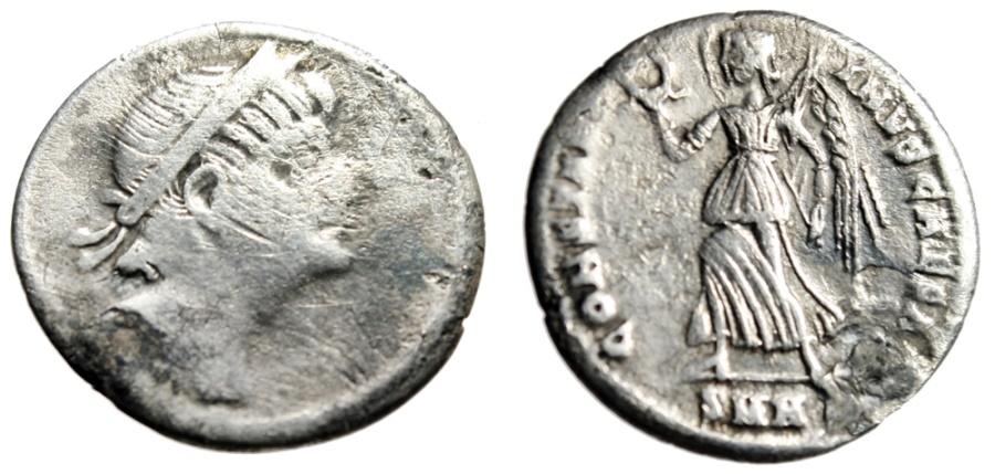 "Ancient Coins - Constantine II Caesar Silver Siliqua ""Victory"" Heraclea RIC Unlisted Very Rare"