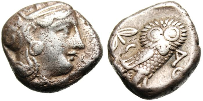 "Ancient Coins - Attica, Athens Silver AR Tetradrachm ""Athena & Owl"" Old Style no Cuts Good Fine"