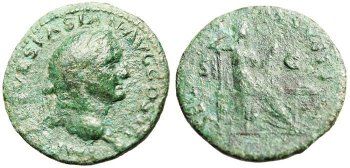 "Ancient Coins - Vespasian AE As ""SECVRITAS AVGVSTI Securtias Seated"" RIC 1171 var RARE"
