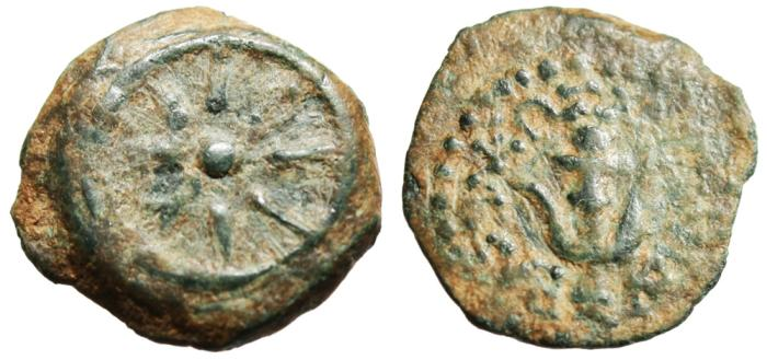 "Ancient Coins - Alexander Jannaeus AE Prutah ""Eight Ray Star & Achor"" Judaea Hendin 1150 VF"