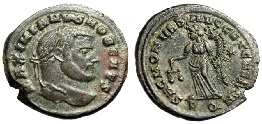 "Ancient Coins - Galerius AE Follis ""Moneta With Scales"" Rome 302-303 AD RIC 106b Very Fine"