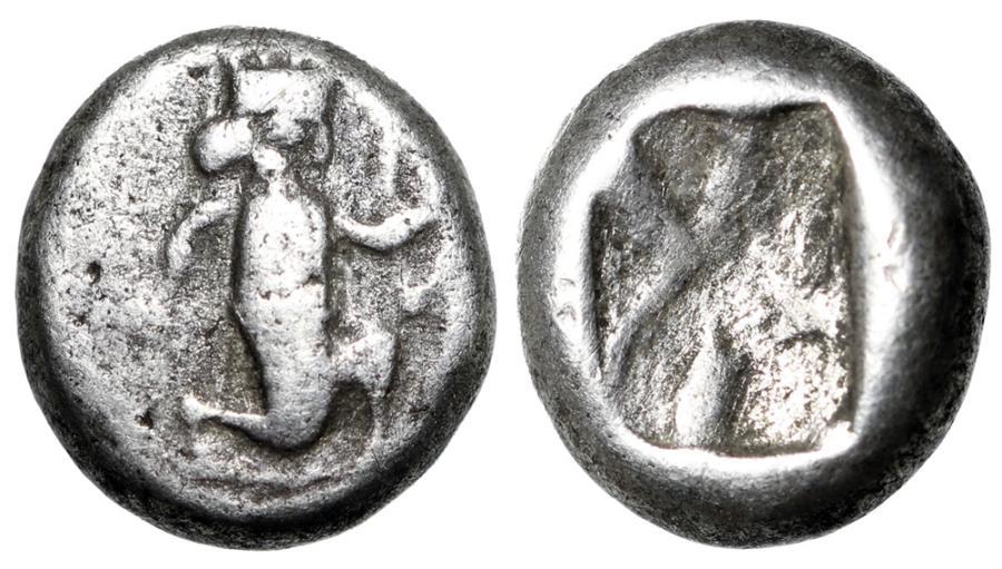 "Ancient Coins - Persia, Achaemenid Empire AR Sixth 1/6 Siglos ""Kneeling Hero, Bow & Incuse"""