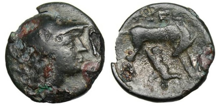 "Ancient Coins - Arkadia, Tegea AE Dichalkon ""Doe Suckling Infant Telephos"" BCD Peleponnesos 1737 Very Rare"