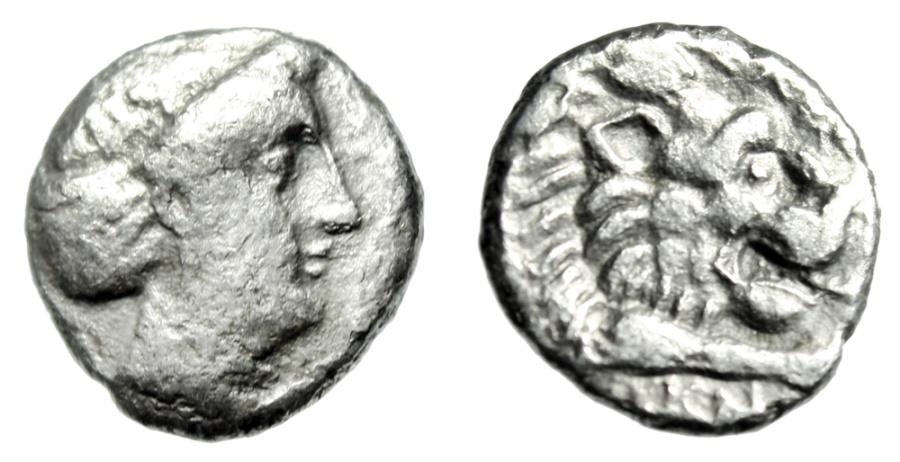 "Ancient Coins - Caria, Knidos (Knidus) Silver Drachm ""Aphrodite & Forepart of Lion"" Teleas VF"