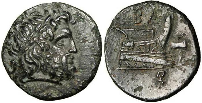"Ancient Coins - Demetrios Poliorketes AE15 ""Zeus & Prow"" SNG Cop 1187 Rare gVF"