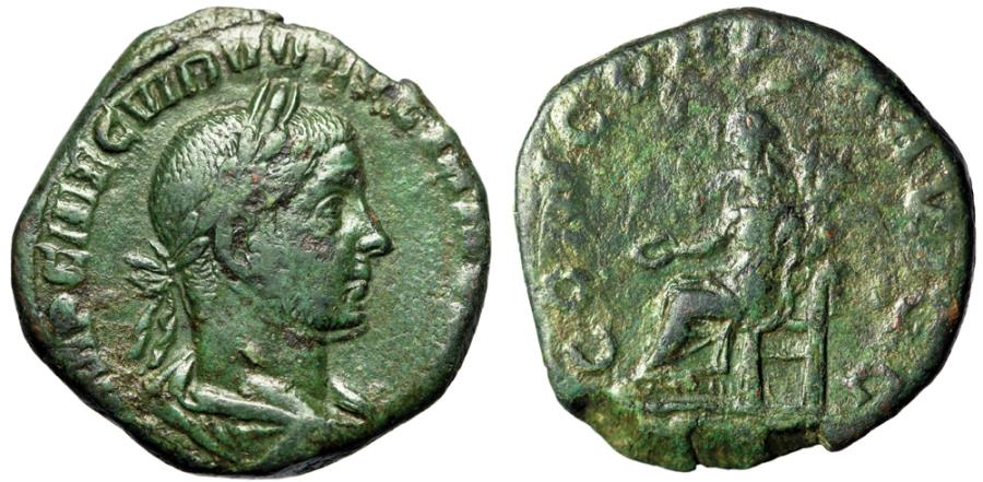 "Ancient Coins - Volusian AE Sestertius ""CONCORDIA AVGG Concordia Seated"" 251-253 AD Green"