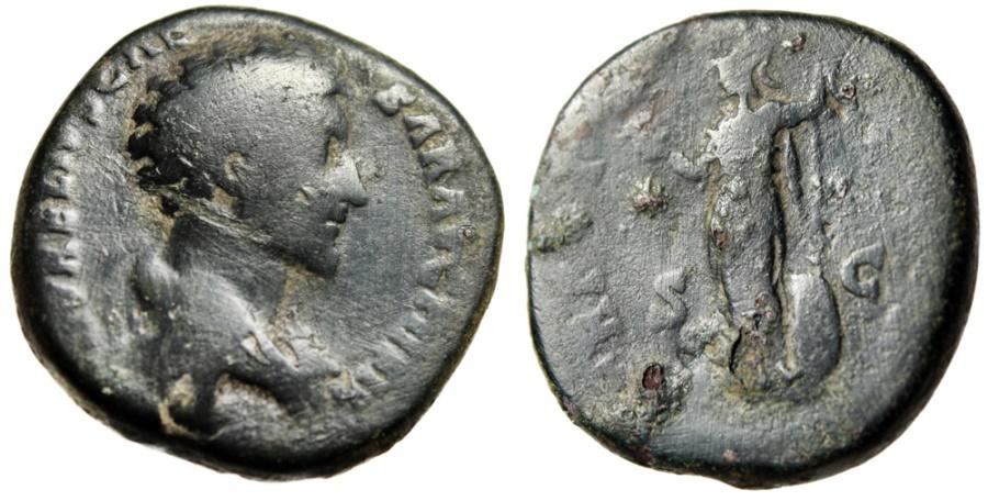 """Ancient Coins - Marcus Aurelius Caesar Sestertius """"Minerva Holding Owl"""" Rome RIC 1314"""