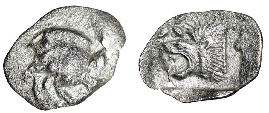 "Ancient Coins - Mysia, Kyzikos (Cyzicus) AR Hemiobol ""Boar, Tunny & Roaring Lion, Star"" VF"
