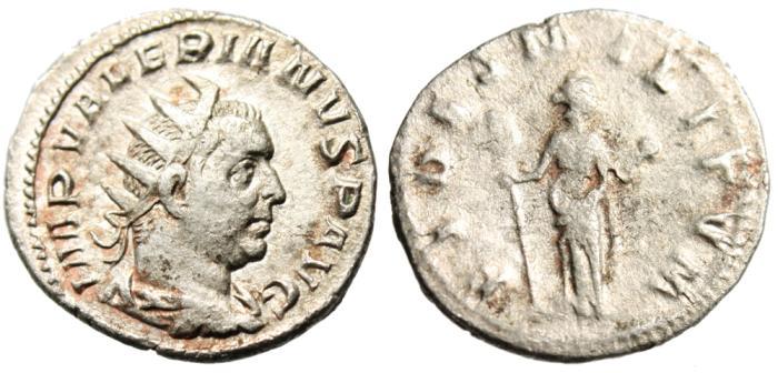 "Ancient Coins - Valerian I Silver AR Ant. ""FIDES MILITVM Fides"" Mediolanum RIC 241 VF"