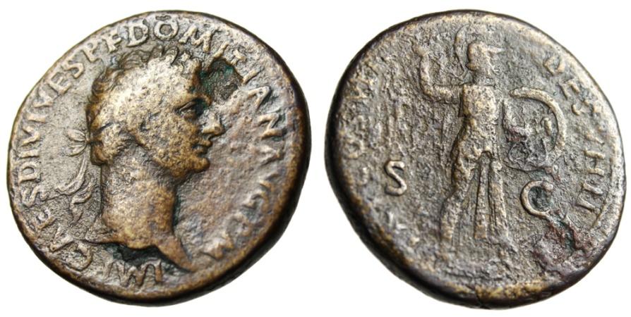 "Ancient Coins - Domitian Orichalcum Sestertius ""Minvera Throwing Spear"" Rome RIC 103 Scarce"