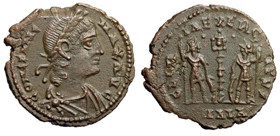 """Ancient Coins - Constans I """"GLORIA EXERCITVS Soldiers Pellets Dots"""" Alexandria RIC Unlisted Rare"""