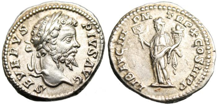 """Ancient Coins - Septimius Severus Silver AR Denarius """"Liberalitas"""" Rome 202 AD RIC 182 EF"""